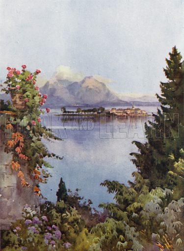 A Garden at Baveno, Lago Maggiore. Illustration for The Italian Lake Described by Richard Bagot (A&C Black, 1905).