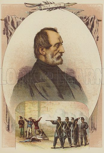 Joseph Mazzini, Citizens shot for reading Mazzini's Journal. Illustration for The Life  and Times of Garibaldi (Walter Scott, 1881).