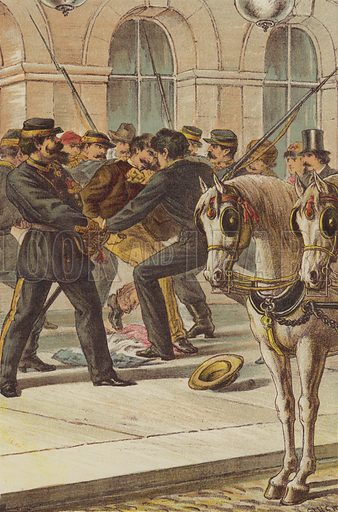 Cairoli saves the King at Naples. Illustration for The Life and Times of Garibaldi (Walter Scott, 1881).
