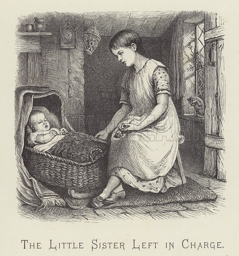 The little sister left in charge. Illustration for Moral Songs by Mrs CF Alexander (Masters & Co, 1880).