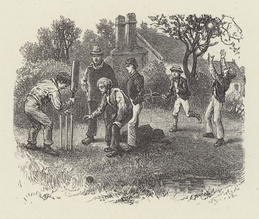 Cricket. Illustration for Moral Songs by Mrs CF Alexander (Masters & Co, 1880).
