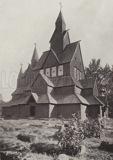 Hitterdal Timber Church. Illustration for Norge (Mittet & Co, c 1910).