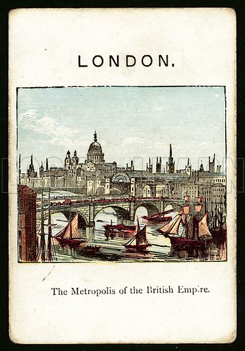 London. Illustration for card from game called The Kingdoms Of Europe by John Jaques, late 19th century. Note. Requires slight retouching.