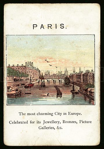 Paris. Illustration for card from game called The Kingdoms Of Europe by John Jaques, late 19th century. Note. Requires slight retouching.