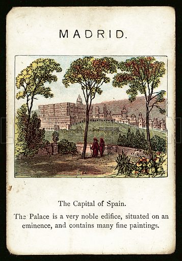 Madrid. Illustration for card from game called The Kingdoms Of Europe by John Jaques, late 19th century. Note. Requires slight retouching.