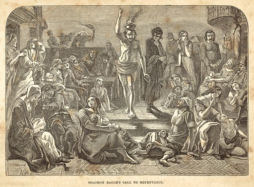 Solomon Eagle's call to repentance. Illustration for A Journal of the Plague Year (SPCK, 1878).
