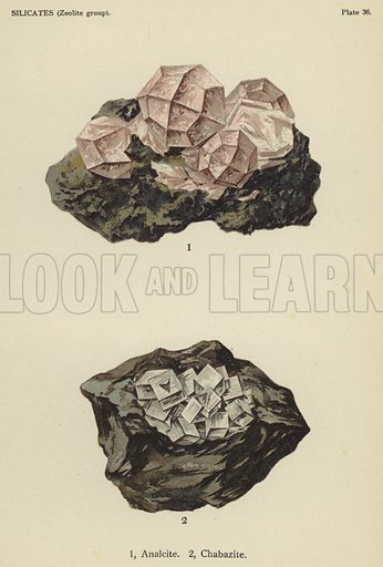 Silicates (zeolite group), analcite, chabazite. Illustration for The World's Minerals by Leonard J Spencer (W & R Chambers, 1911). Fine printing.