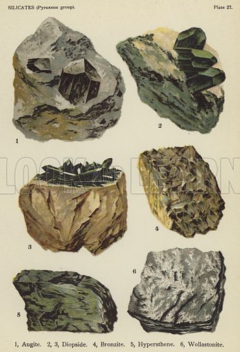 Silicates (pyroxene group), augite, diopside, bronzite, hypersthene, wollastonite. Illustration for The World's Minerals by Leonard J Spencer (W & R Chambers, 1911). Fine printing.