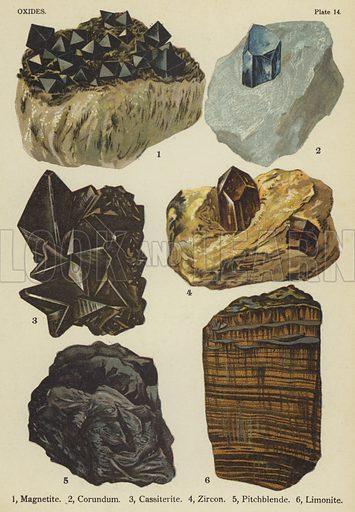 Oxides, magnetite, corundum, cassiterite, zircon, pitchblende, limonite. Illustration for The World's Minerals by Leonard J Spencer (W & R Chambers, 1911). Fine printing.
