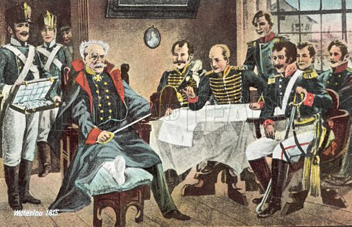 Waterloo 1815, Blucher receives the hat, the sword and the decorations of the Emperor at Genappe. Postcard, early 20th century.