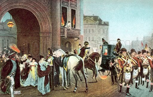 1815, 16 June 1815, End of the Ball. Postcard, early 20th century.