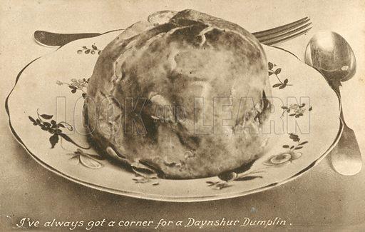 Davnshur Dumplin, Devonshire Dumpling. Postcard, early 20th century.