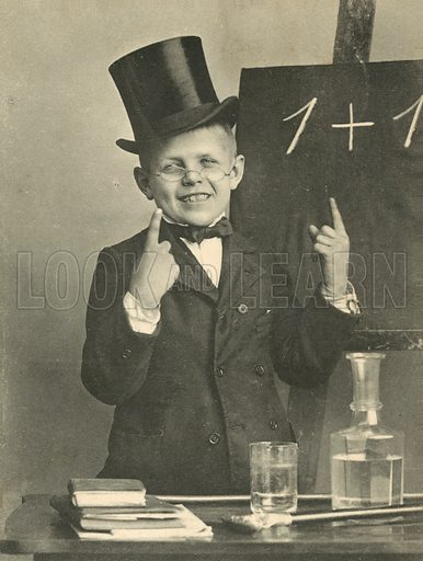 Boy in top hat explaining the basics of mathematics. Postcard, early 20th century.