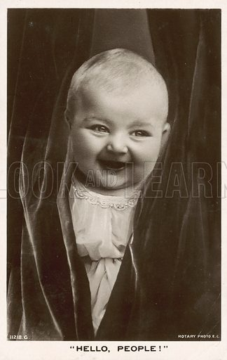 Hello, People! Child smiling. Postcard, early 20th century.