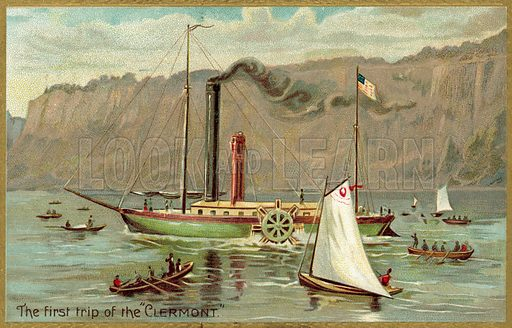 First trip, The Clermont. Postcard, early 20th century.