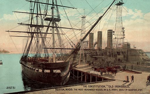 The Constitution, Old Ironsides, Boston, Massachusetts, the most renowned vessel in the US Navy, built in Boston 1797. Postcard, early 20th century.