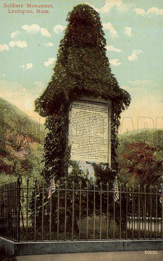 Soldiers' Monument, Lexington, Massachusetts. Postcard, early 20th century.