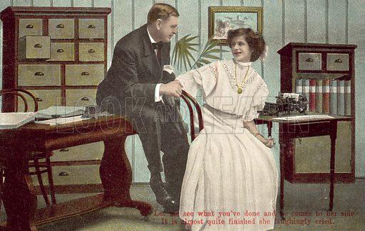 Boss making advances on his secretary. Postcard, early 20th century.