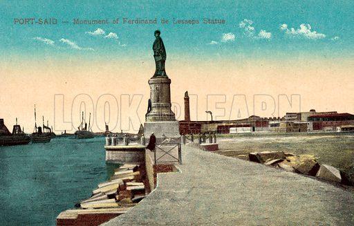 Port Said, Monument, Ferdinand De Lesseps, Statue. Postcard, early 20th century.