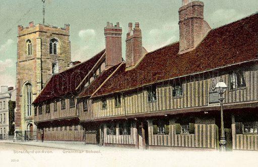 Stratford On Avon, Grammar School. Postcard, early 20th century.