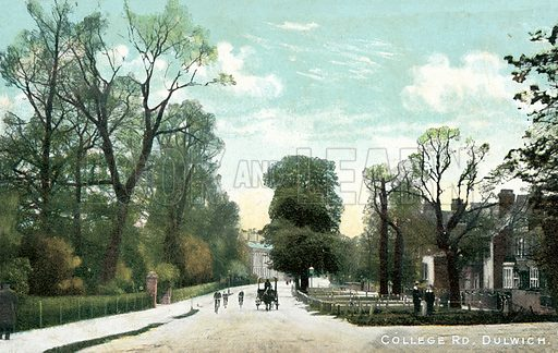 College Road, Dulwich, London. Postcard, early 20th century.