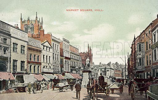 Market Square, Hull, England. Postcard, early 20th century.