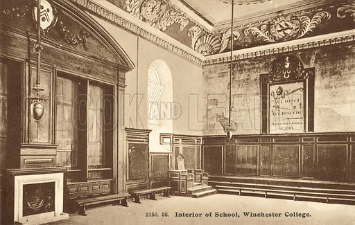 Winchester College, interior of the school. Postcard, early 20th century.
