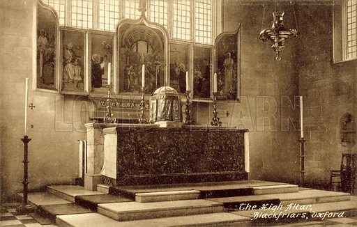The High Altar, Blackfriars, Oxford. Postcard, early 20th century.