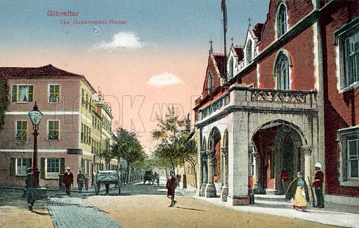 Gibraltar, The Government House. Postcard, early 20th century.