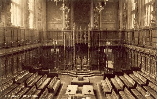 House Of Lords, interior. Postcard, early 20th century.