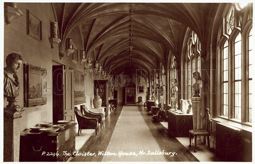 The Cloister, Wilton House, nr Salisbury. Postcard, early 20th century.