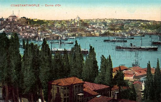 Constantinople, Golden Horn. Postcard, early 20th century.