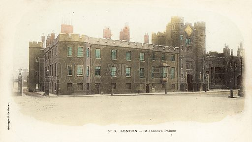London, St James's Palace. Postcard, early 20th century.