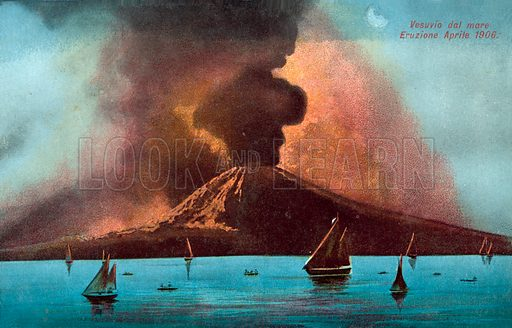 Eruption of Vesuvius, April 1906. Postcard, early 20th century.