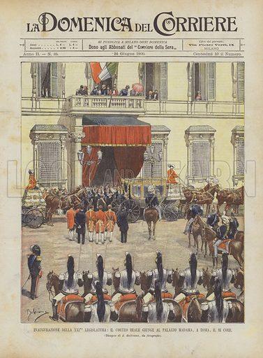 Inaugurazione Della XXIma Legislatura, Il Corteo Reale Giunge Al Palazzo Madama, A Roma, Il 16 Corr. Illustration for La Domenica Del Corriere, 24 June 1900.