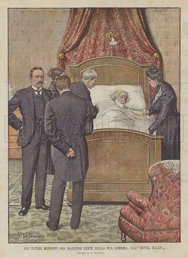 Gli Ultimi Momenti Del Maestro Verdi Nella Sua Camera, All' Hotel Milan. Illustration for La Domenica del Corriere, 3 February 1901.