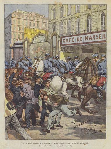 Gli Scioperi Operai Di Marsiglia, La Carica Degli Ussari Lungo La Canebiere. Illustration for La Domenica del Corriere, 7 April 1901.