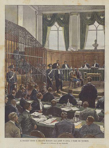 Il Processo Contro Il Brigante Musolino Alle Assise Di Lucca, L'Esame Dei Testimoni. Illustration for La Domenica del Corriere, 4 May 1902.