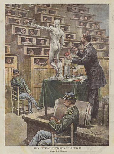 Una Lezione D'Igiene Ai Carcerati. Illustration for La Domenica del Corriere, 4 October 1903.