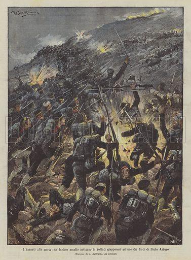 I dannati alla morte, un furioso assalto notturno di soldati giapponesi ad uno dei forti di Porto Arturo. Illustration for La Domenica del Corriere, 11 September 1904.