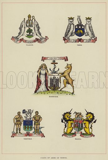 Coats of Arms of Towns. Illustration for The Art of Heraldry by Arthur Charles Fox-Davies (T C and E C Jack, 1904).