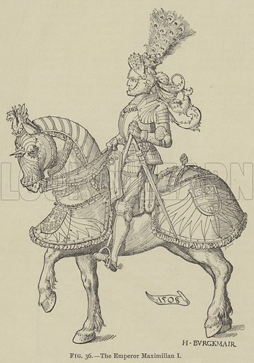 The Emperor Maximilian I. Illustration for The Art of Heraldry by Arthur Charles Fox-Davies (T C and E C Jack, 1904).
