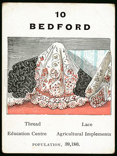 Bedford. Card from a game about the main towns cities of Great Britain.