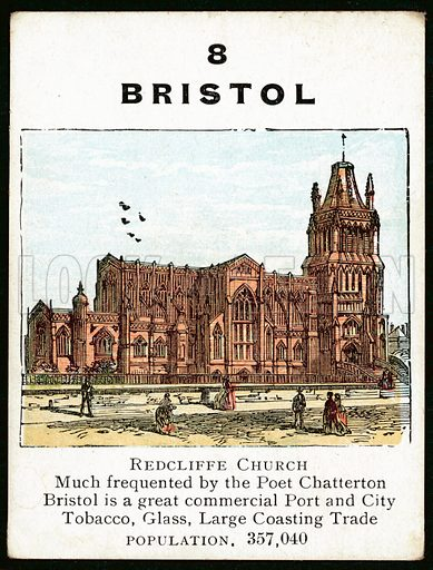 Bristol. Card from a game about the main towns cities of Great Britain.