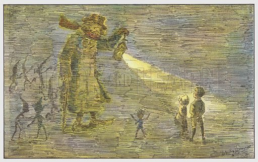 They tell Yellow Fog that they are seeking their fortune. Illustration for Sky-High, a Flight of Fancy for Children (George Routledge, c 1908).