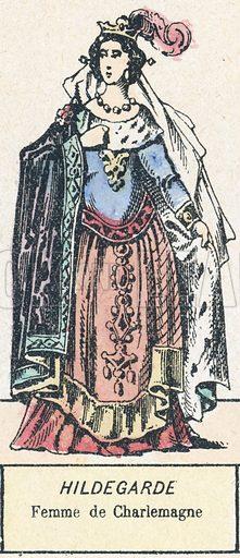 Hildegarde, Femme de Charlemagne. Detail from popular coloured engraving by Pellerin of Epinal.  Galerie Des Reines De France.