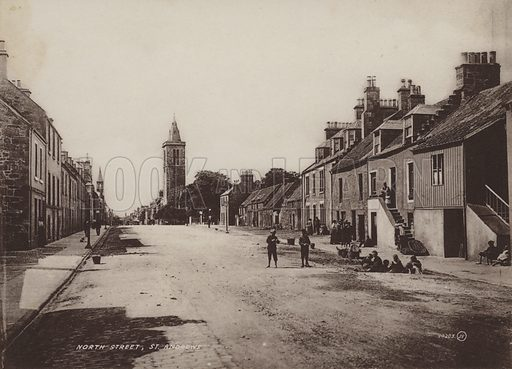 North Street, St Andrews. Illustration for tourist booklet on St Andrews, Scotland, c 1900.  Grauvure printed.
