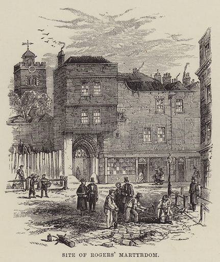 Site of Rogers' Martyrdom. Illustration for Walks In and Around London by Uncle Jonathan (Charles H Kelly, 1889).