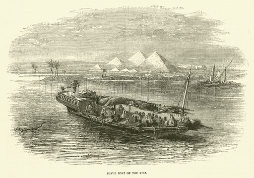 Slave boat on the Nile. Illustration for The Sunday at Home 1868 (Religious Tract Society).