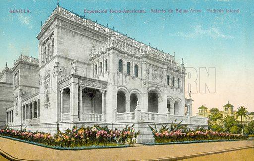 Seville, Exposicion Ibero-Americana, Palacio de Bellas Arts, Spain.  Postcard, early 20th century.